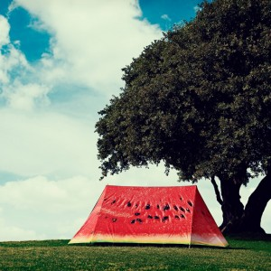A tent that looks like a slice of watermelon